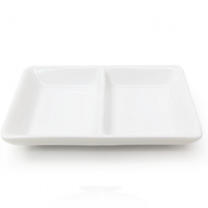 2 Section Mini Dish White 3in x 2in