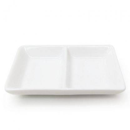 2 Section Mini Dish White 4.2in x 2in