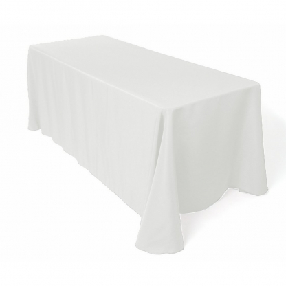 Linen Tablecloth White Ivy Leaf 70in x 70in