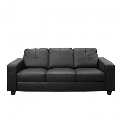 Atlas 3 Seater Sofa Black Leather