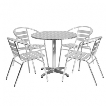 Cafe Bistro Table and Chairs Set Silver