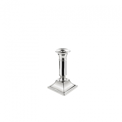 Candlestick Square Base Silver 6in