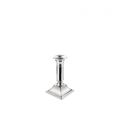 Candlestick Square Base Silver 8.5in