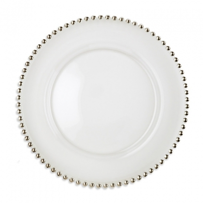 Charger Plate Glass Beaded 13in