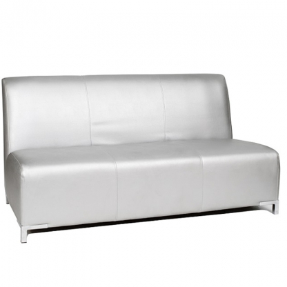 Club 3 Seater Sofa Silver Leather
