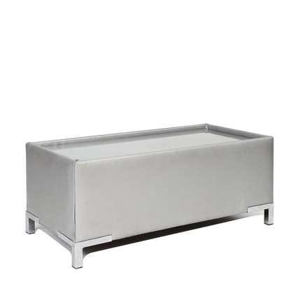 Club Coffee Table Silver Leather