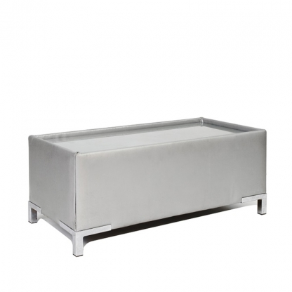Club Footstool Silver Leather