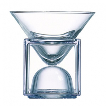 Cubix Martini Bowl with Clear Cube