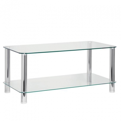 Kodeta Coffee Table Glass with Shelf
