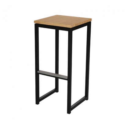 Cube Black Bar Stool Bamboo Seat
