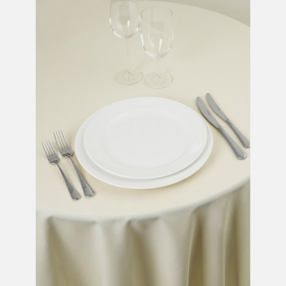 Linen Tablecloth Ivory Round 90in