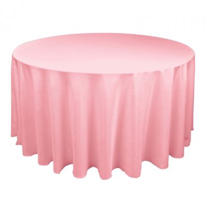 Linen Tablecloth Pink Round 90in