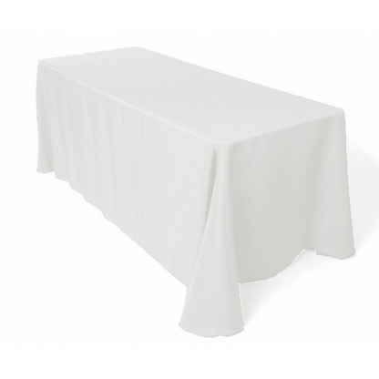 Linen Tablecloth White Ivy Leaf 90in x 90in