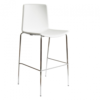 Milan White High-back Bar Stool