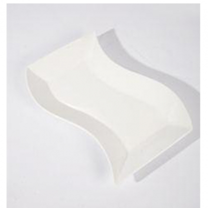 Platter Rectangular Curved Edge White 20in x 8in