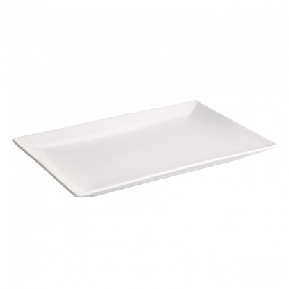 Platter Rectangular Lipped White 14in x 6.5in