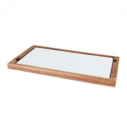 Platter Rectangular Wooden with Ceramnic Plate 14.5in x 8in