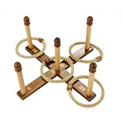 Quoits Game (wooden ring and ropeS)