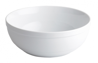 Serving Bowl Round White Rim 8in