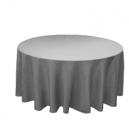 Signature Linen Tablecloth Grey Round 132in