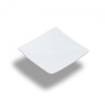 Square Mini Dish with Stem White 2.5in