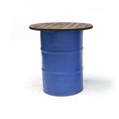 Steel Barrel Pod Table with Wooden Top Blue