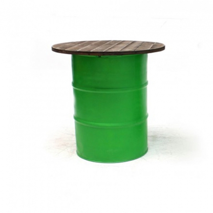 Steel Barrel Pod Table with Wooden Top Green