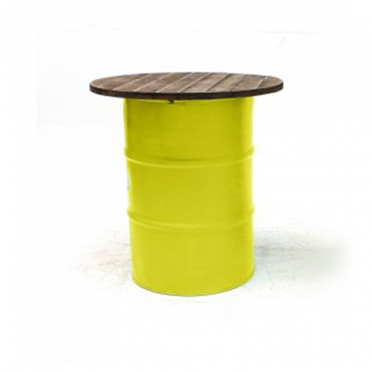 Steel Barrel Pod Table with Wooden Top Yellow