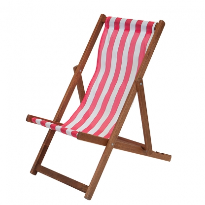 Traditional Wooden Deckchair Red and White