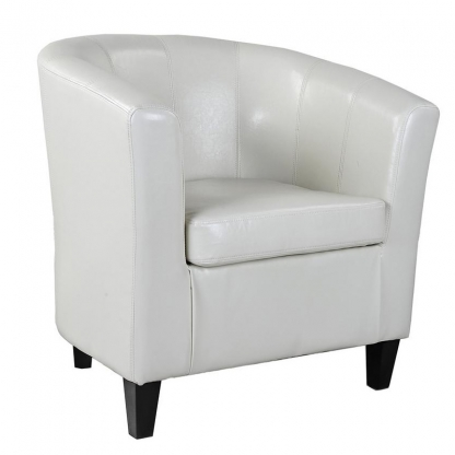 Tub Chair White Leather