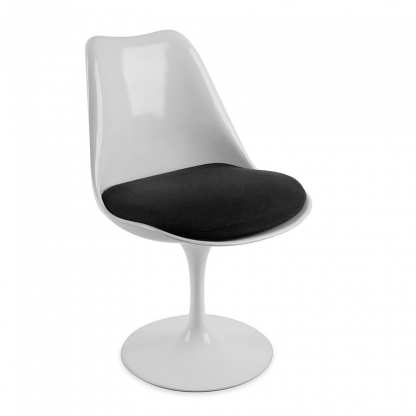 Tulip Chair White with Black Seat
