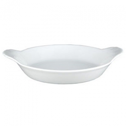 Vegatable Serving Dish Oval Lugged White 12in