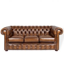 Chesterfield 3 Seater Sofa Tan Leather