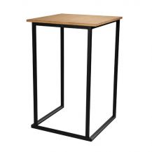 Cube Black High Bar Table (Bamboo Top)
