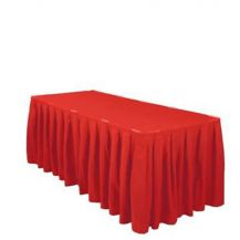 Linen Table Skirting Red 21ft/252in