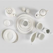 Silver Rim Crockery Set
