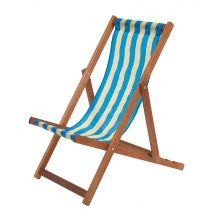 Traditional Wooden Deckchair Blue and Yellow
