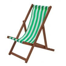 Traditional Wooden Deckchair Green and White