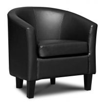 Tub Chair Black Leather