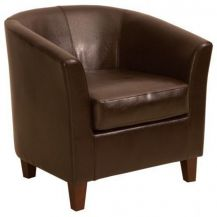 Tub Chair Brown Leather