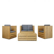 Pallet Outdoor Sofa and Chairs Set